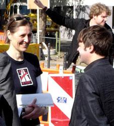 BISS Aktivistin vor dem SPD Parteitag